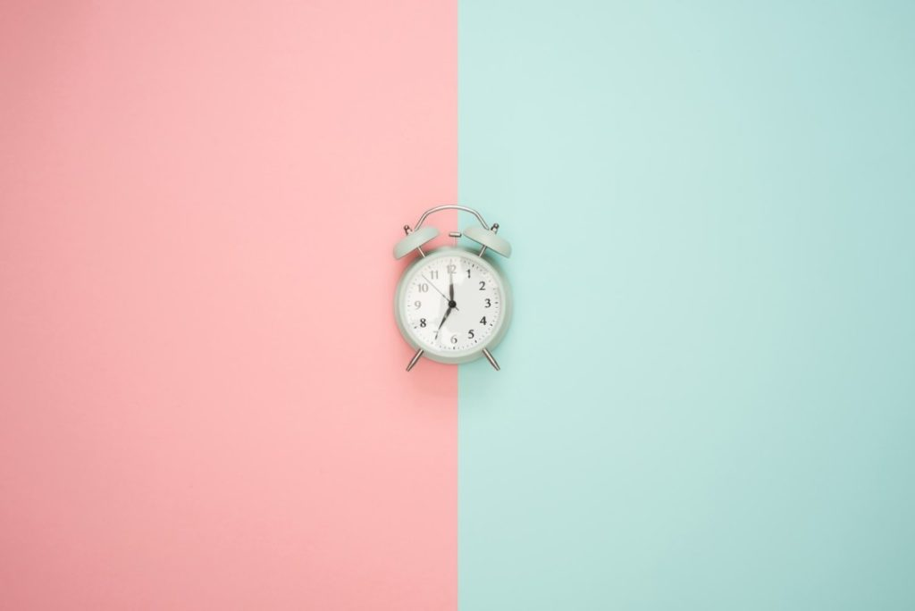 Clock on two tone background