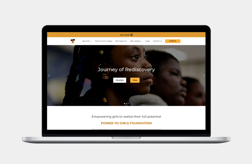 WordPress web design client project for Power to Girls