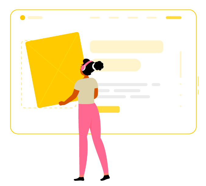 Vector illustration of girl building web design